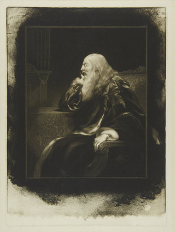 A three-quarter length portrait of the elderly George III. He is seated at a table with his chin propped on one hand, wrapped in an ermine-trimmed silk robe. His face is in profile. He has a long, untidy beard and long white hair.