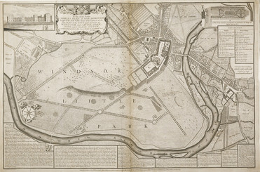 """A map of labelled """"Windsor Little Park,"""" showing the town, castle and river Thames, with the surrounding parkland. A drawing of Windsor Castle is inset in the top left corner, next to a decorative scroll with the dedication """"To the most Noble Charles, Duke of Marlborough, Knight of the most Noble Order of the Garter &c &c &c. This Plan of the Town and Castle of Windsor and Little-Park, Town and College of Eton, Is most humbly Inscrib'd by His Graces Dutiful Obedient Humble Serv[an]t W. Collier."""" Individual features are labelled, and a key on the right identifies smaller details. In the top right corner is a plan of proposed changes to the Gardens. Below the dedication is a long avenue of trees, labelled """"Queen Elizabeth's Walk."""" Just beside these is another tree: a hand pointing to it labels this one """"Sr John Falstaff's Oak."""""""