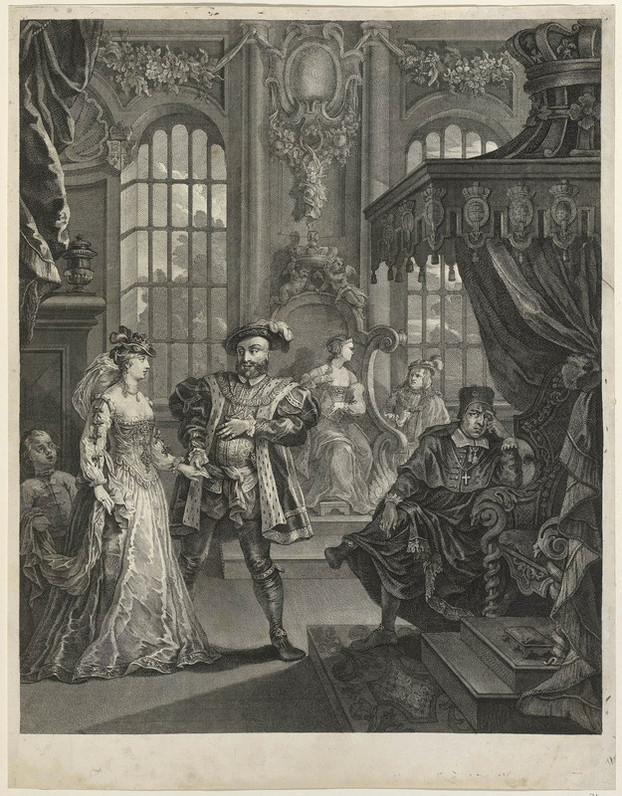 An etching and engraving of a scene in the court of Henry VIII. Henry, recognisable with the broad shoulders, plumed hat, and ermine-lined coat from the famous Holbein portrait, leads Anne Boleyn by the hand toward the throne. She is fashionably dressed, and followed by a dwarf who holds the train of her gown. On the right, the throne is under a decorated canopy, at the foot of the stairs sits Cardinal Wolsey, with his legs crossed, and one hand raised to his face as if in thought. Two more courtiers - a lady sitting in a decorated alcove, and a man addressing her - are visible in the background.