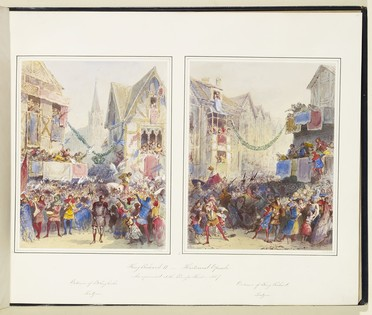 A watercolour of a crowded street scene. In the foreground, a soldier in chainmail and helmet reaches out a hand to a child, who is struggling to see past the backs of the crowd. On the right is a group of musicians in colourful tunics, stockings and hoods. The crowd's attention is on a man in a gold doublet riding a white horse, who clutches his plumed hat to his chest and stoops to speak to the people. Balconies and windows in the background are filled with spectators. Flags and banners hang from the windows, and a garland strung across the street bears a pendant in the shape of a crown. In the distance a church steeple can be seen. Everything except the immediate foreground is rendered in pale pastel tones.