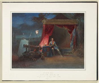 A watercolour painting of a scene from Richard III, predominantly in bold shades of red and blue. Charles Kean as Richard III sits on the edge of a bed in a tent with red drapery and gold embellishments. His posture is twisted: both feet rest on the ground as he turns to the left to place both hands on a small table, his head turns the other way to gaze off to the right. He wears a tunic with the royal arms, and plate armour on his arms and legs; a helmet topped with a crown is on the ground near his feet. The table also bears the royal arms, and further standards in royal colours are stacked on the right. A brazier casts a pool of light over Richard and the table, which bears writing implements. Outside the light there is a cannon, behind which a sentry stands with his back to the viewer, in long cloak and helmet, carrying a spear. The shapes of further tents are faintly rendered in the background, and the twisted branches of a tree against a deep blue night sky.
