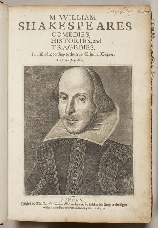The title page of a large book; yellowed with age at the edges, with paper bookmarks visible along the right edge. At the top, the title is printed: 'Mr William Shakespeares Comedies, Histories, and Tragedies. Publish'd according to the true Original Copies. The second Impression.' Much of the page is taken up with an engraved portrait of Shakespeare: he has a high forehead, heavy-lidded eyes, a thin moustache and short beard, and wears a high starched white collar over an embroidered black doublet. Immediately below the image is printed the credit 'Martin Droeshout sculpsit, London.' Below, in larger type, are the publication details for the book: 'London, Printed by Tho. Cotes, for Robert Allot, and are to be sold at his shop at the sign of the Blacke Beare in Pauls Church-yard. 1632.' In the top right corner, an inscription in ink reads 'Pawb yn y Arver' meaning 'Everyone has his own customs,' and is signed 'T Herbert.'