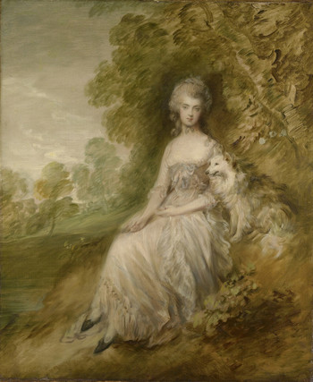 A woman sits on a grassy bank in front of a tree. She is very pale, with a serious expression. She wears a low-cut white dress with lace trim, a fichu across her breast, and blue ribbons on the bodice. Her hands are in her lap; one hand holds an object, too small to make out. On the right sits an alert fox dog with white fur. The background includes more trees and a cloudy sky.