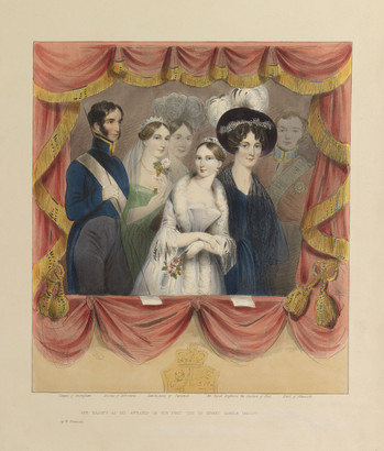 A hand-coloured lithograph of a group of people framed by the red curtains of a theatre box; the royal arms are faintly rendered at the bottom of the frame. Queen Victoria is at the centre. She has her arms folded in front of her, one hand holding a posy of flowers, and her head turned to the left. She wears a tiara, a pale silk dress with a fur stole, and white wrist-length gloves. On the right stands the Duchess of Kent, in a dark blue dress with black lace shawl and black plumed hat, with dark ringlets around her forehead. To the right, the Marquess of Conyngham has prominent dark sideburns and wears a blue tailcoat with high, gold-edged collar and a white sash, white gloves, and grey trousers. He holds the string presumably used to open the curtains. The Duchess of Sutherland is beside him, in pale green dress, tiara and white veil, holding a posy. More faintly rendered in the background are the Marchioness of Tavistock, in an elaborate plumed headdress, and the Earl of Albemarle, in red military uniform. Below, the title is printed: 'Her Majesty as she appeared on her first visit to Covent Garden Theatre,' and the names of the subjects are printed below each figure (except the queen).