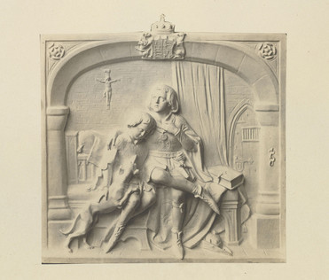 A photograph of a white plaster bas relief. Two boys in medieval costume are seated on a bed, the taller has one hand pressed to his heart and the other arm around the smaller boy's shoulders. The smaller boy has his hand on a whippet's back; the dog rests his forepaws on the boy's lap. The background hints at the children's piety: a Bible rests on a table to the right, and a crucifix hangs on the back wall. On the right, an arched door with heavy lock and barred window indicates their captivity. The composition is contained within an arched frame made up of pillars on both sides with a royal coat of arms at the top. Roses adorn the top corners in reference to the Wars of the Roses.